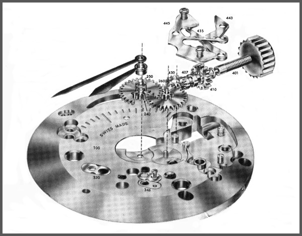 illlustration of a manual wind mechanical watch 		  	movement, dial side